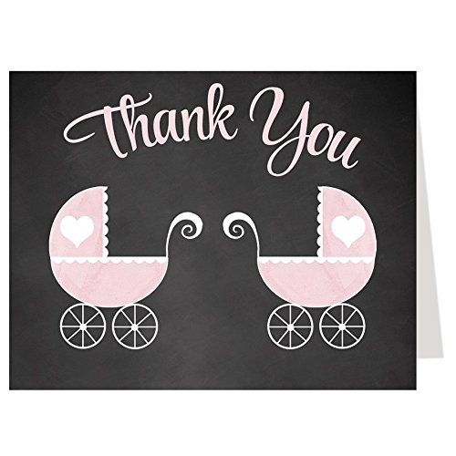 ank You Cards, Chalkboard, Carriages, Stroller, Buggy, Twins, Twin Girls, Baby Girls, Pink Set of 50 Folding Notes with White Envelopes, Chalkboard Baby Carriage Twin Girls ()