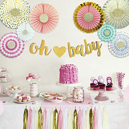 Baby Shower Decorations with Oh Baby Banner Paper