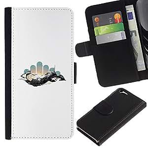 LECELL--Cuero de la tarjeta la carpeta del tirón Smartphone Slots Protección Holder For Apple Iphone 6 -- Geometría abstracta Espacio --
