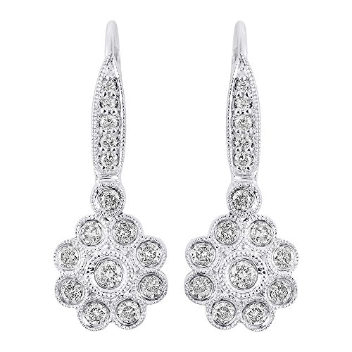 Diamond Flower Earrings 14K White Gold Leverback Drop - Diamond 14k Gold Hoop Baguette