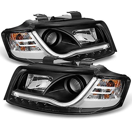(For 2002-2005 Audi A4 S4 Black Bezel DRL Daytime LED Light Tube Bar Design Projector Headlights Lamps Left+Right Pair)