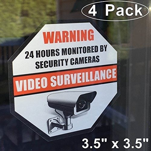 "Front Self Adhesive Vinyl Outdoor/Indoor (4 Pack) 3.5"" X 3.5"" Home Business Security DVR CCTV Camera Video Surveillance System Window Door Warning Signs Alert Sticker Decals"