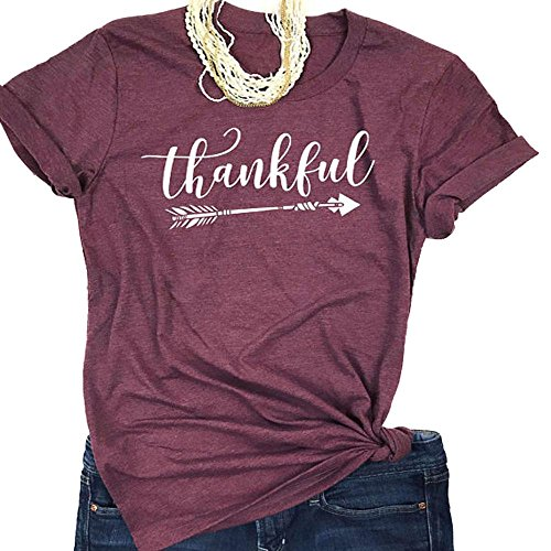 Enmeng Womens Blessed Thankful Printed T-Shirt Casual Thanksgiving Christian Tee Tops (L, Thankful-Purple)