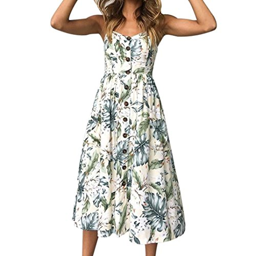 Elegant Leaf - Hmlai Women's Summer Sundress Fashion Off Shoulder Buttons Decor Floral Printed Sleeveless Elegant Midi Dress (Leaves Printing, M)
