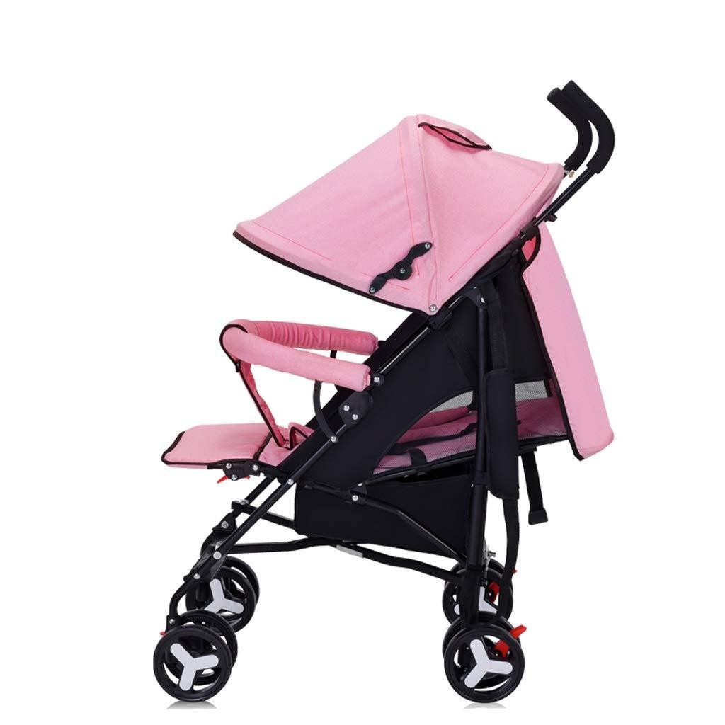 軽量の折りたたみベビーカーの鋼鉄管はリクライニングの衝撃吸収材のトロリー子供車に座ることができます (Color : Pink)  Pink B07R1VSY3K