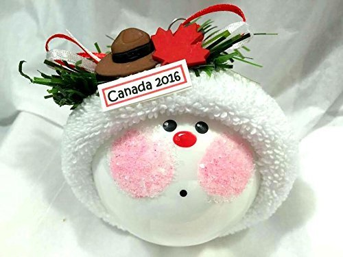 Canada Christmas Ornament Ball Mountie Hat Red Maple Leaf Souvenir Gift Hand Painted Hand Made Personalized and Themed by Townsend Custom Gifts - (Hat Mountie Hat)