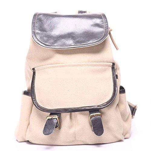 Beige Canvas Leather Handmade Backpack