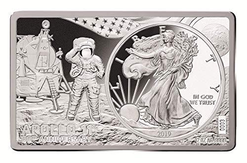 (2019 3 oz 50th Anniversary Apollo 11 American Eagle Silver Coin Bar Set Box COA)