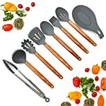 Silicone Cooking Utensils Set, 8 Piece Kitchen Utensil Set with Natural Acacia Wooden Handles, BPA Free Silicone Kitchen Cooking Utensils, Safe Cooking Tools for Non-stick Cookware, Best Holiday Gift 9 COMPLETE SET OF 8 COOKING UTENSILS: Are you looking for the Best Utensil Set for your cooking needs? Professional or home cook, our Non-stick Utensils gives you all the cooking tools needed to complement your kitchen! ELLO HOME Cooking Set includes 1 Silicone Serving Spoon, 1 Slotted Spoon, 1 Slotted Silicone Spatula, 1 Silicone Tongs, 1 Spaghetti Server, 1 Soup Ladle, 1 Pastry Brush, and 1 Silicone Spoon Rest to keep your stove and counters clean while cooking your meals. PREMIUM QUALITY: Are you looking for High-End Stylish Cooking Utensils to make tasty meals for your family? ELLO HOME offers you this much more! We are passionate about quality + simplicity. Careful thought was used to craft our beautiful rustic cooking set assuring safety and style. Our premium quality kitchen tools feature silicone heads that won't scratch pan surfaces, which makes them versatile for all types of cookware, keeping your non-stick pans in perfect condition. HIGH FOOD GRADE SILICONE: Silicone is the ideal alternative to harsh stainless steel utensils and bamboo utensils that can scrape and damage your non-stick pots and pans. Avoid those harmful plastic and nylon utensils that leak harmful chemicals into your food. Our Durable BPA Free, Food Grade Silicone Cooking Set is heat-resistant up to 464°F, so you can trust our cooking tools will not melt while cooking.