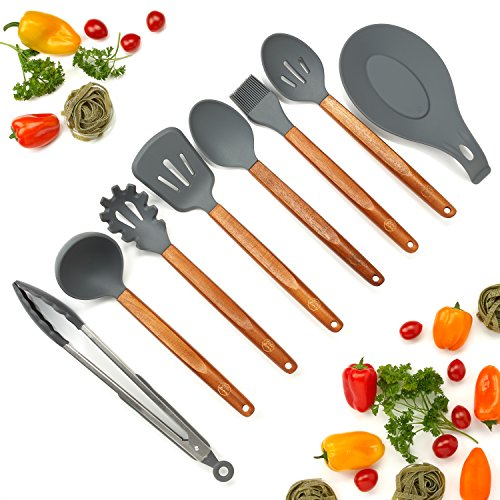 - Silicone Cooking Utensils Set, 8 Piece Kitchen Utensil Set with Natural Acacia Wooden Handles, BPA Free Silicone Kitchen Cooking Utensils, Safe Cooking Tools for Non-stick Cookware, Best Holiday Gift