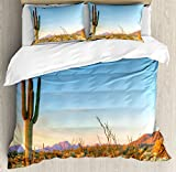 Saguaro Cactus Decor Duvet Cover Set by Ambesonne, Sun Goes Down in Desert Prickly-pear Cactus Southwest Texas National Park, 3 Piece Bedding Set with Pillow Shams, Queen / Full, Orange Blue Green