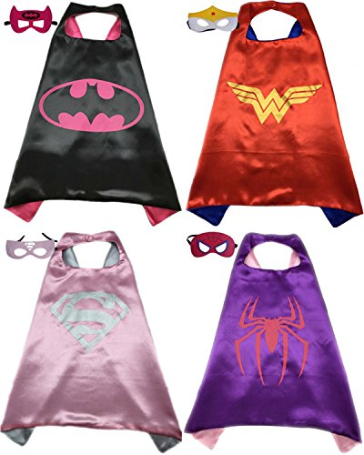 4 Pack Superhero or Princess CAPE & MASK SETS Kids Childrens Halloween Costumes (Batgirl Wonderwoman Supergirl (Supergirl Halloween)