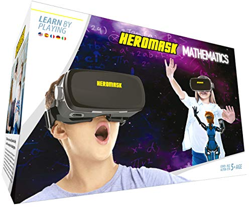 VR Headset + Math Games [Multiplication Subtraction etc] Virtual Games: Gift for Boys & Girls. Cool Educational Toys for Kids 5 6 7 8... Years Old. Virtual Reality Learning Resources Grade 1 2 3 4...8 (Best Looking Vr Game)