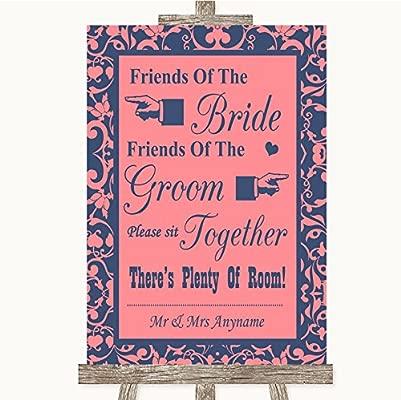 Cartel de boda rosa coral y azul, con texto en inglés ...