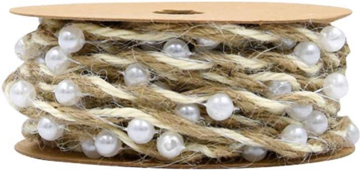 HEALLILY Cadena de Perlas Perlas Adorno de Cadena Guirnalda con Cuentas Cintas de Cáñamo Regalo Cintas de Envoltura de Flores para Decoración de Artesanías de Fiesta de Boda (Caqui)