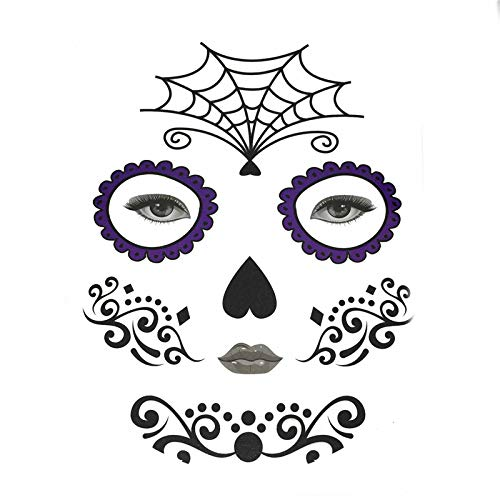 (Inverlee 1 Sheet Inverlee Waterproof Facial Temporary Tattoos Day of The Dead Sugar Skull Stickers Halloween Party Terror Scar Makeup Tattoo Stickers)