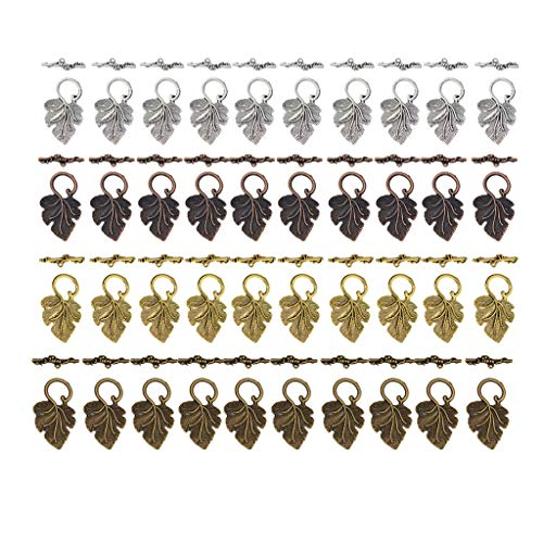 40x Leaf Shape OT Toggle Clasp Connectors Necklace Jewelry DIY Craft Finding