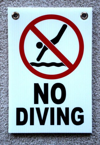 VINBOX NO DIVING with Symbol 8'', x12'', Plastic Coroplast Sign with Grommets from VINBOX