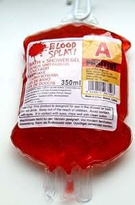 Sangre Gel de Ducha en sangre spendeb eutel para la ducha ducha roja y badegel sangre Konserve Artículo de broma.