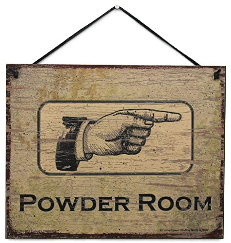 Egbert's Treasures Vintage Style Sign Pointing Right Saying, POWDER ROOM Decorative Fun Universal Household Signs from (Antique Powder Room Sign)