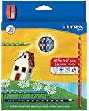 LYRA Groove Slim Child-Grip Pencils, 3.3 Millimeter Cores, Includes Sharpener, Set of 24 Pencils, Assorted Colors (2821240)