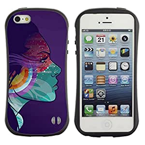 Hybrid Anti-Shock Bumper Case for Apple iPhone 5 5S / Colorful Girl Psychedelic