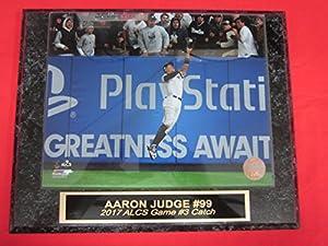 Yankees Aaron Judge 2017 ALCS Catch Engraved Collector Plaque w/8x10 Photo