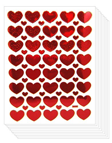 Fun Red Rose Heart Stickers Glitter Set Labels [Super Save 10 sheets]