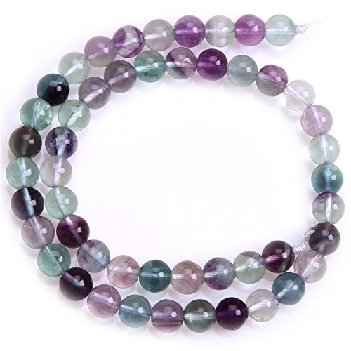 Fluorite Set Necklace (Joe Foreman Fluorite Beads for Jewelry Making Natural Gemstone Semi Precious 8mm Round 15