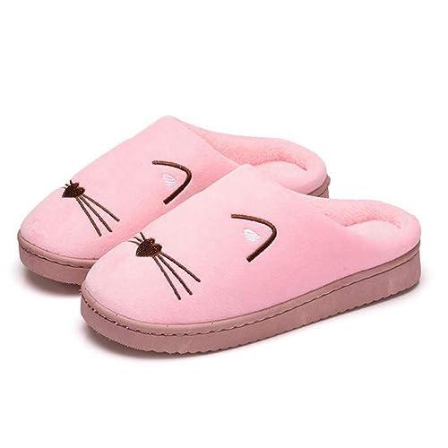Zapatillas de Mujer Calientes Gato de Invierno Parejas Chanclas de algodón Cómodos Zapatos Antideslizantes: Amazon.es: Zapatos y complementos