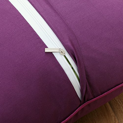 Set of 2 Solid Decorative Throw Pillow Covers Cases for Sofa Couch Bed,100 Percents Cotton Square Pillow Covers Euro Shams Cozy Soft Cushion Covers 18x18 Inch,Best for Home Décor (Eggplant) by Sunday Praise (Image #5)