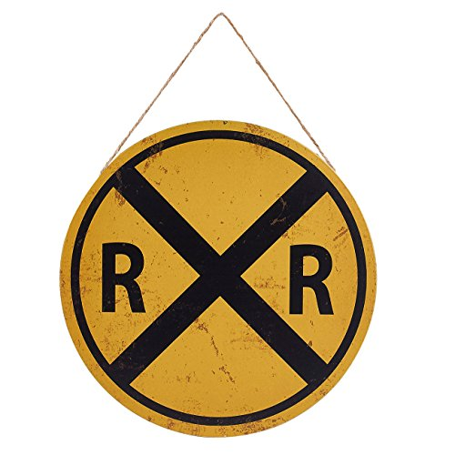 Juvale Rail Road Crossing Symbol Sign - Metal Tin Traffic Sign Wall Decor, Perfect Cafes, Restaurans, Party and Home Interior Decoration, 11.8 x 11.8 Inches]()