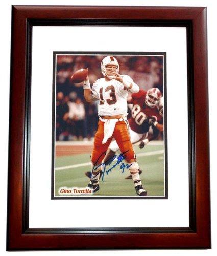 1992 Trophy Heisman - Gino Torretta Autographed Photo - Miami Hurricanes UM 8x10 MAHOGANY CUSTOM FRAME 1992 Heisman Trophy Winner - PSA/DNA Certified