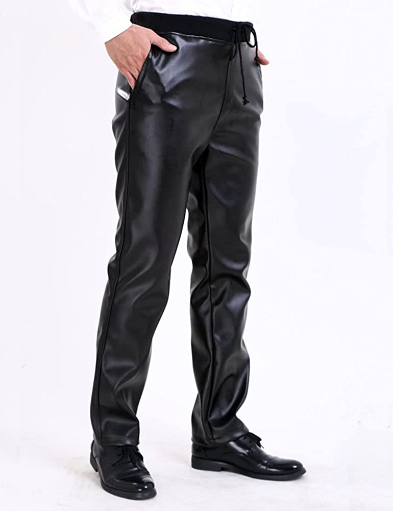 Idopy Men`s Black Soft Elastic Waist Faux Leather Pants with Drawstring