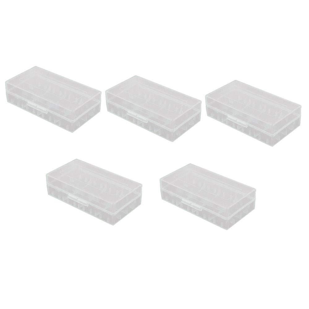 Sayingning 2/5 PCS Portable Hard Plastic Battery Case Holder Storage Box for 18650/16340 Battery (5-Pack)