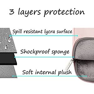 Mosiso Water Repellent Lycra Sleeve Bag Cover for 13-13.3 Inch Laptop with Small Case for MacBook Charger, Baby Pink