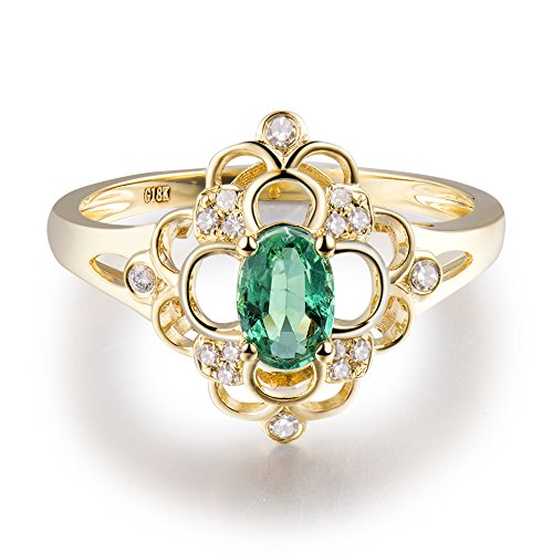 Green Emerald Natural (Solid 14Kt Yellow Gold Natural Green Emerald Real Diamond Wedding Ring)