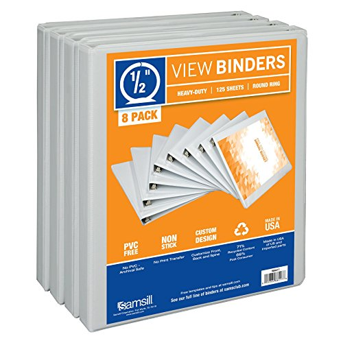 Samsill 3 Ring Durable View Binders - 8 Pack, 1/2 Inch Round Ring, Non-Stick Customizable Clear Cover, White - Recycled Chipboard Cover