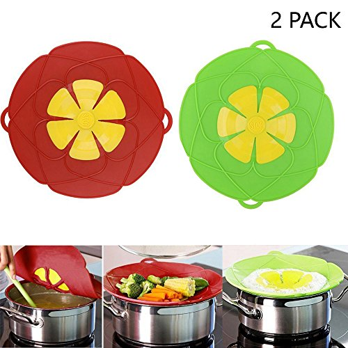 2Pcs Spill Stopper Lid Cover ,Boil Over Safeguard,Silicone Spill Stopper Pot Pan Lid Multi-Function Cooking Tool ,Kitchen Gadgets,Christmas Gift for Cooking lover,Parents,Friends, Green& Red by OYOY (Image #7)