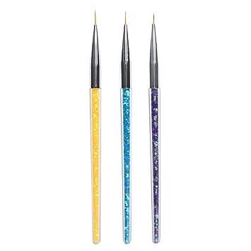 3 Piezas Pinceles de manicura con Pluma Transparente para aplicar Gel UV Decorar uñas postizas acrílicas Herramienta de DIY Pintura para el Diseño de Uñas: ...