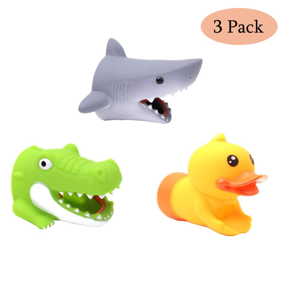 Echolife 3 Pack Cute Animal Faucet Extender Silicone Hand Washing Sink Handle Extender Protector for Baby Kids and Toddlers (3 Pack)