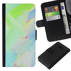 KLONGSHOP // Tirón de la caja Cartera de cuero con ranuras para tarjetas - Aceite Verde Color Azul Blanco Pintura Pintura - Samsung Galaxy Core Prime //