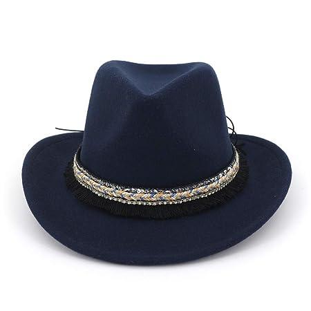 JCH Women Men Fedora Wool Cotton Polyster Western cowboy national style Hat  For Winter Autumn Elegant eedd4ba3de5
