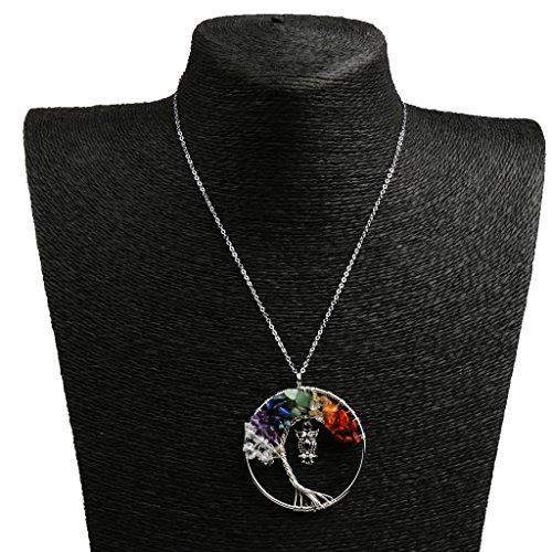 Lovoski 手作り ネックレス制作 DIY 生命の木フクロウのペンダント ワイヤーラップ 宝石類 ジュエリー 全4色 - カラフルの商品画像