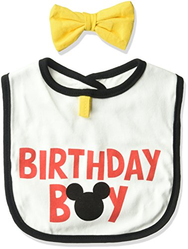 Mickey Mouse 1st Birthday Bib (Disney Baby Boys Character, Mickey Mouse bib/Bowtie Set,)