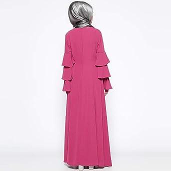 NPRADLA Large Falda Mujer Musulmana Suelta Color sólido túnica ...