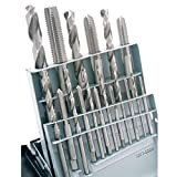 HHIP 1011-0020 18 Piece High Speed Steel Tap and Drill Combo Set, M2.5-M12