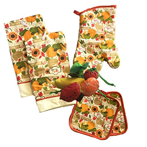 Harvest Pot Holder (Kitchen Linen Set (Includes: one oven mitt, two pot holders and two dish towels) (Fall Harvest))