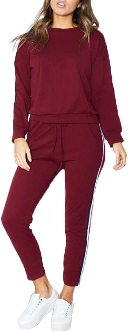 MQ Boutique UK Womens 2 PCS Tracksuits Set Ladies Striped Active Sport Loungewear Size 6-16