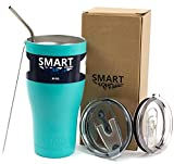Tumbler 30 Oz Color - Smart Coolers - Ultra-Tough Double Wall Stainless Steel Tumbler Cup - Premium Insulated Mug - Keep Coffee - Compare to Yeti - Powder Coated - 2 Lids + Straw + Gift Box - Teal